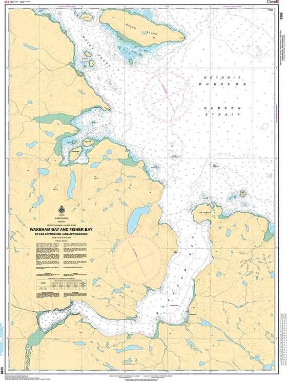 CHS Print-on-Demand Charts Canadian Waters-5390: Wakeham Bay and Fisher Bay et les Approches/and Approaches, CHS POD Chart-CHS5390