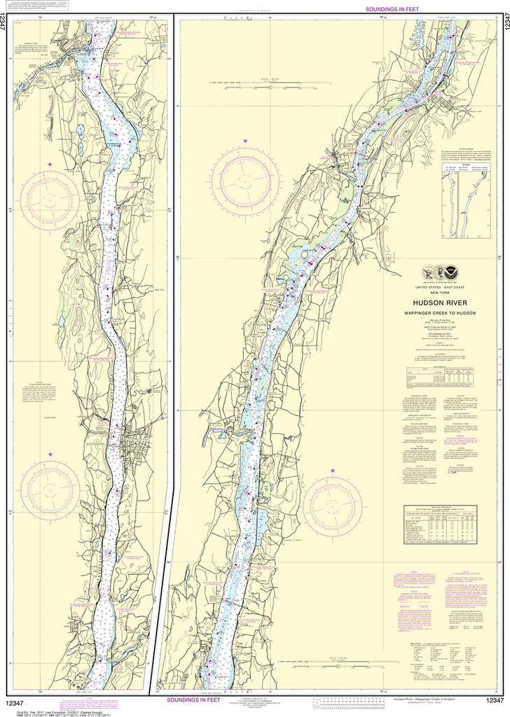 NOAA Chart 12347: Hudson River - Wappinger Creek to Hudson