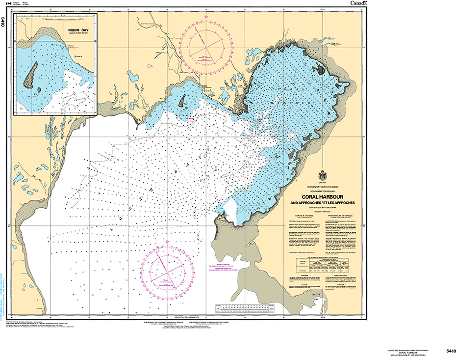 CHS Print-on-Demand Charts Canadian Waters-5410: Coral Harbour and Approaches/et les approches, CHS POD Chart-CHS5410