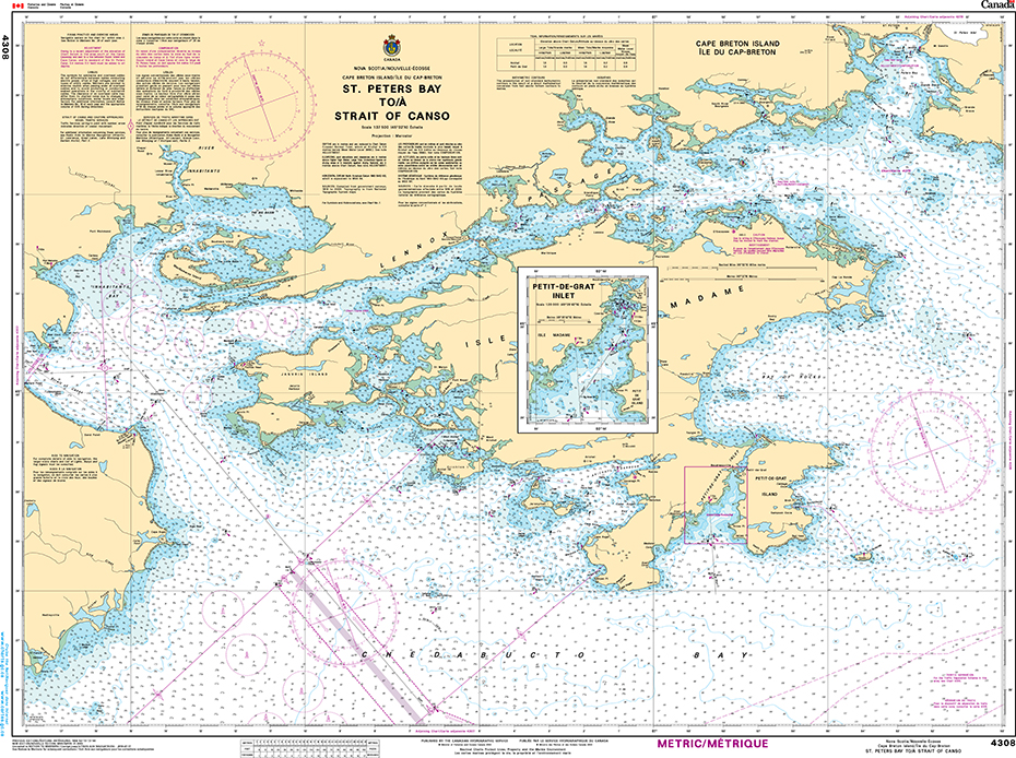 CHS Print-on-Demand Charts Canadian Waters-4308: St. Peters Bay to / € Strait of Canso, CHS POD Chart-CHS4308