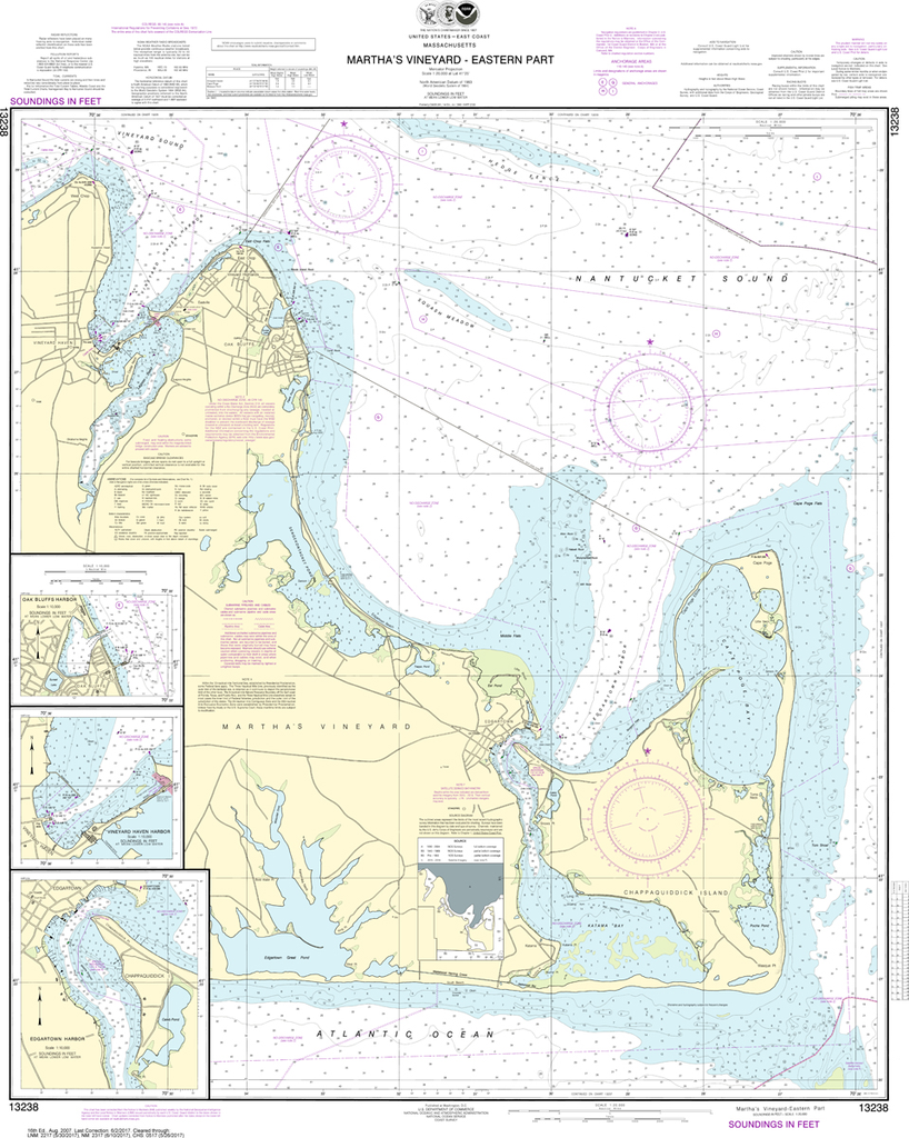NOAA Chart 13238: Martha's Vineyard - Eastern Part, Oak Bluffs Harbor, Vineyard Haven Harbor, Edgartown Harbor