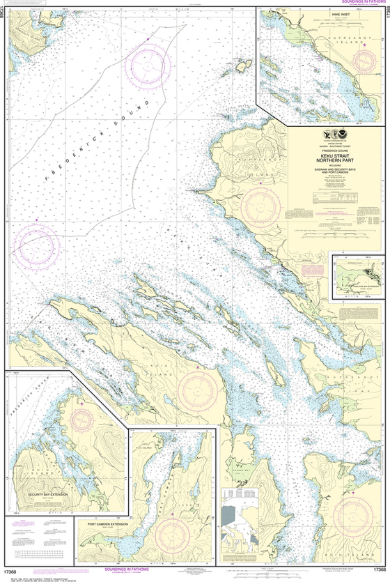 NOAA Chart 17368: Keku Strait - Northern Part, including Saginaw and Security Bays and Port Camden, Kake Inset