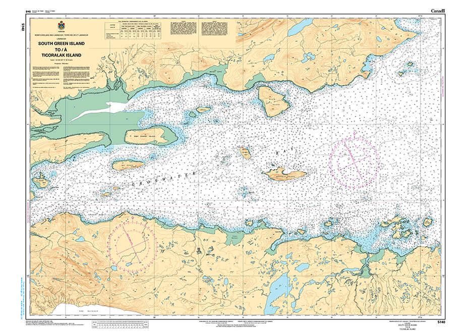CHS Print-on-Demand Charts Canadian Waters-5140: South Green Island to/€ Ticoralak Island, CHS POD Chart-CHS5140