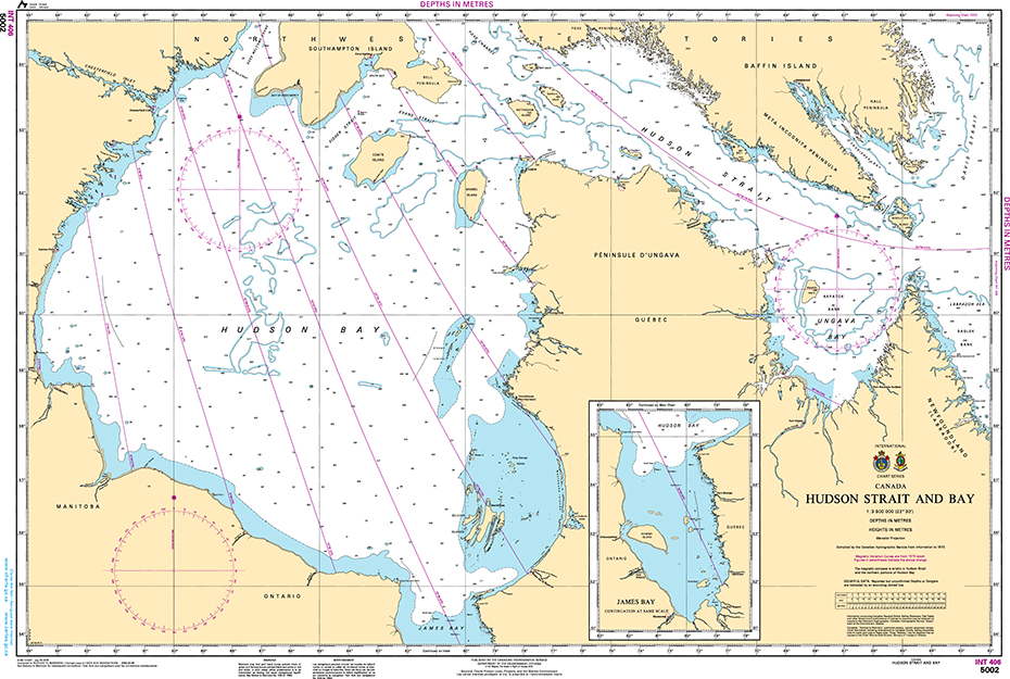 CHS Print-on-Demand Charts Canadian Waters-5002: Hudson Strait and Bay, CHS POD Chart-CHS5002