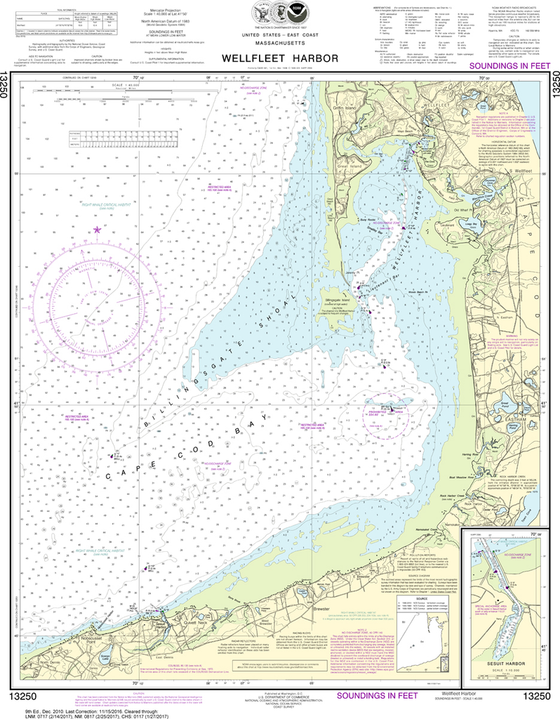 NOAA Chart 13250: Wellfleet Harbor, Sesuit Harbor