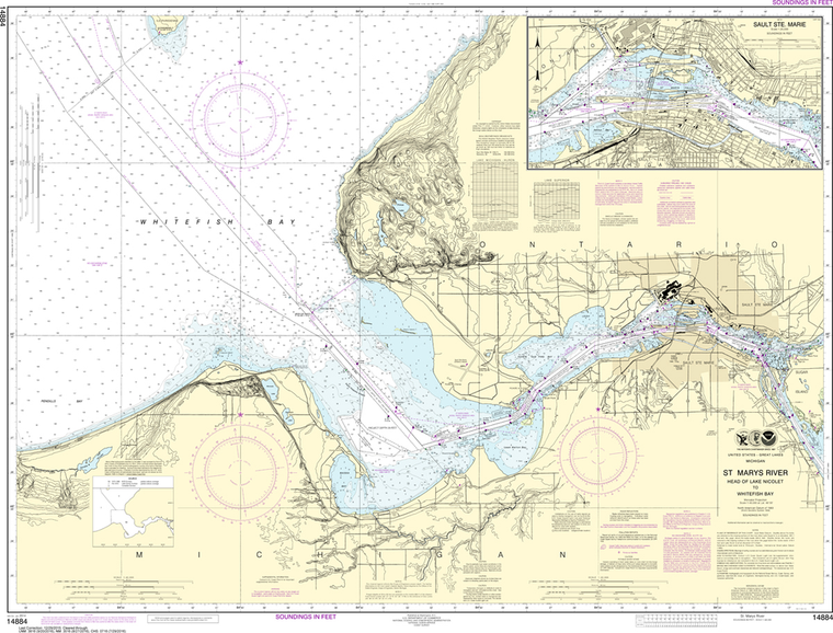 NOAA Chart 14884: St. Marys River; Head of Lake Nicolet to Whitefish Bay, Sault Ste Marie