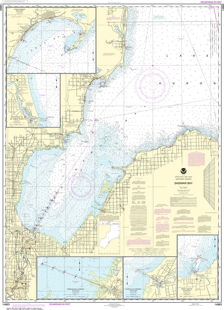 NOAA Chart 14863: Saginaw Bay, Port Austin Harbor, Caseville Harbor, Entrance to Au Sable River, Sebewaing Harbor, Tawas Harbor