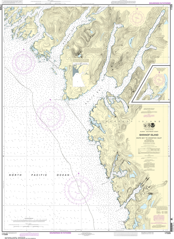 NOAA Chart 17328: Snipe Bay to Crawfish Inlet, Baranof lsland