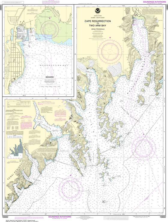 NOAA Chart 16682: Cape Resurrection to Two Arm Bay, Seward