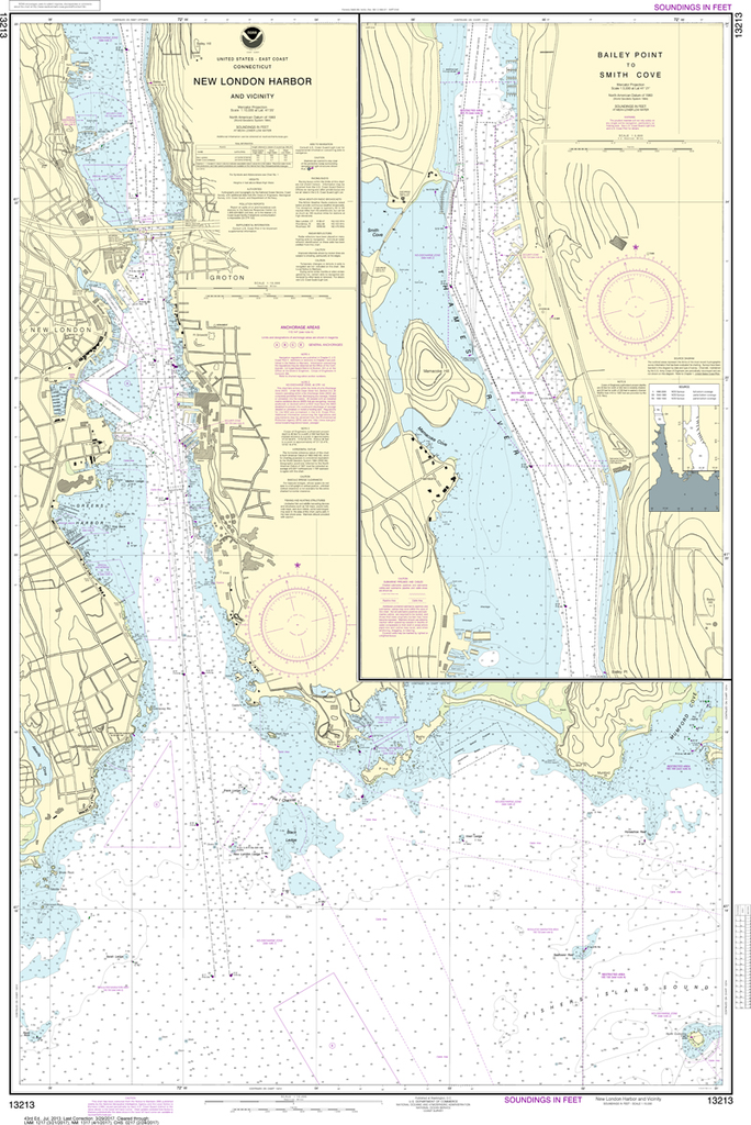 NOAA Chart 13213: New London Harbor and Vicinity, Bailey Point to Smith Cove