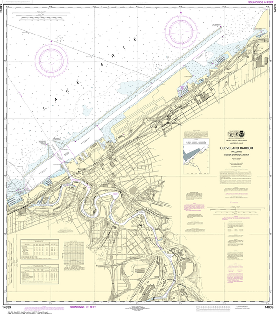 NOAA Chart 14839: Cleveland Harbor, including Lower Cuyahoga River