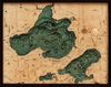 WoodChart of Lakes Mendota and Monona, Madison, Wisconsin