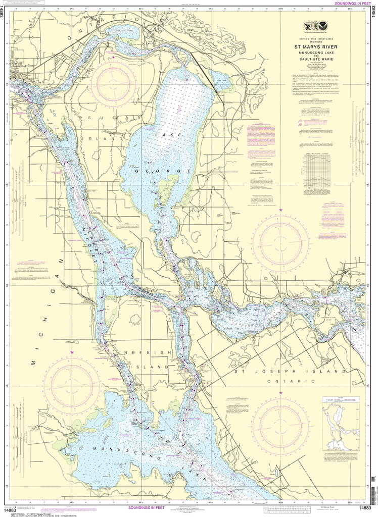 NOAA Chart 14883: St. Marys River - Munuscong Lake to Sault Ste Marie