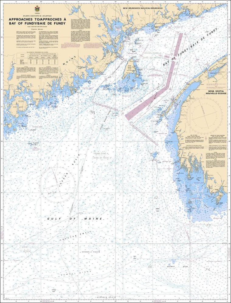 CHS Chart 4011: Approaches to / Approches à Bay of Fundy / Baie de Fundy