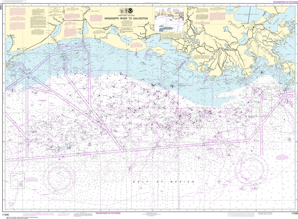 NOAA Chart 11340: Mississippi River to Galveston