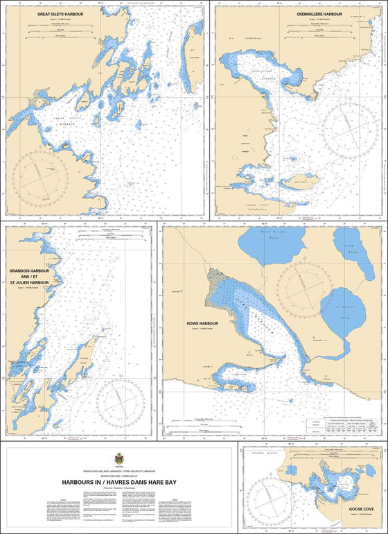 CHS Chart 4516: Harbours in / Havres dans Hare Bay
