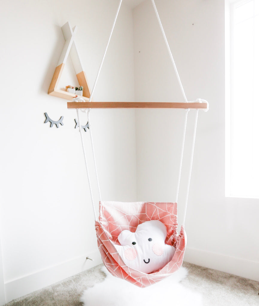 A Child's Nook Girl's Indoor Hanging Hammock Rope Chair - Pink