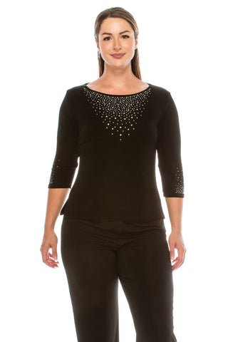 AY New Image Top with Rhinestones,Plus Size-134AY-QX-R-R077