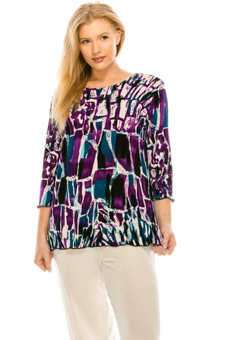 BNS Print Merrow Top,Plus Size-158BN-QXP-W195