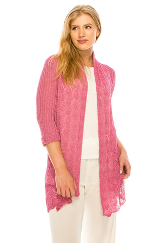 Cotton Polyester  Pattern Knitted Open Stitch Cardigan- 2264