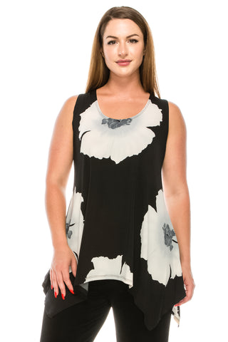 HIT Print Side Drop Tank Tunic, Plus size-230HT-TXP-W113