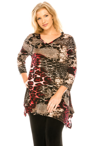 Bulgari V-Neck Binding Top Three Quarter Sleeve, Print - 313BG-QP-W179