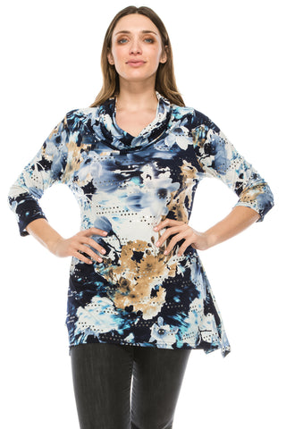 Jostar Glitter Cowl Neck Top, Quarter Sleeve, Printed - 334GL-QP