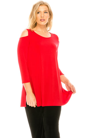 HIT Vented Cold Shoulder Top-337HT-Q