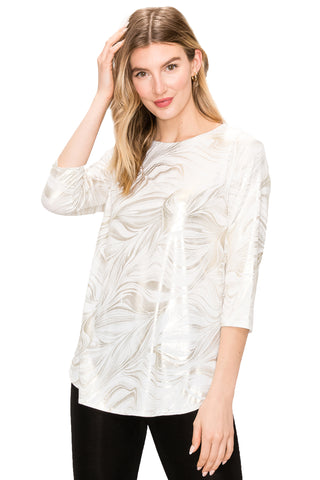 HIT Quarter Sleeves Rounded Bottom Tunic Top-346HT-QP-F018