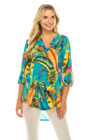 HIT Notch Neck Rolled Sleeve Top-359HT-QP-W269