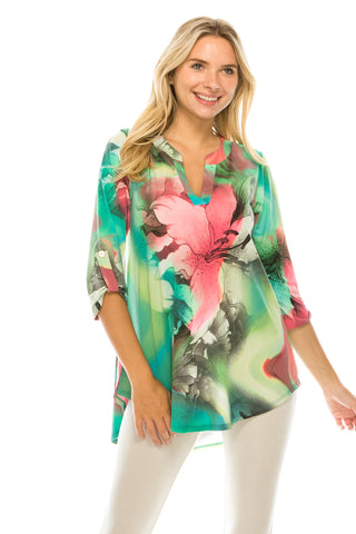 HIT Notch Neck Rolled Sleeve Top-359HT-QP-W281