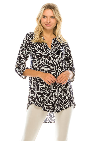 HIT Notch Neck Rolled Sleeve Top-359HT-QP-W286