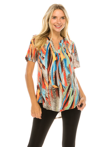 HIT Notch Neck Short Sleeve Top-359HT-SP-W271