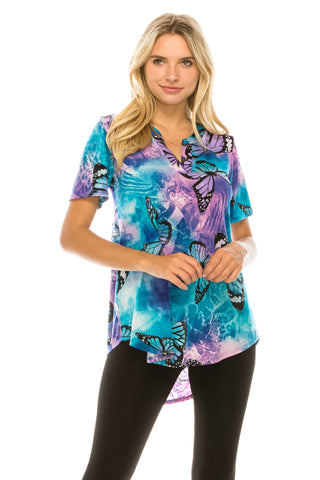 HIT Notch Neck Rolled Short Sleeve Top-359HT-SP-W282