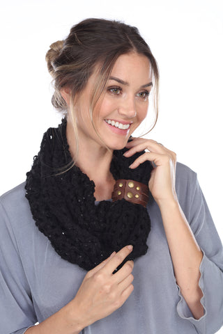 Infinity Scarf with Leather Strap