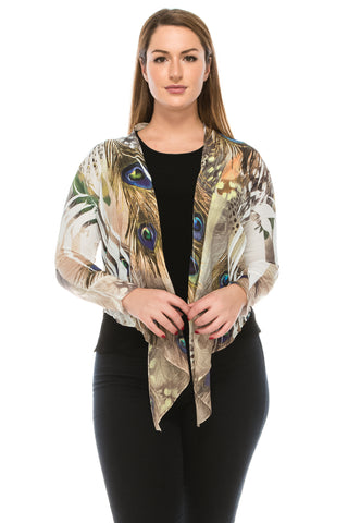 Jostar Onion Skin Crinkle Tie Bolero Long Sleeve, Sublimation - 422SC-LU