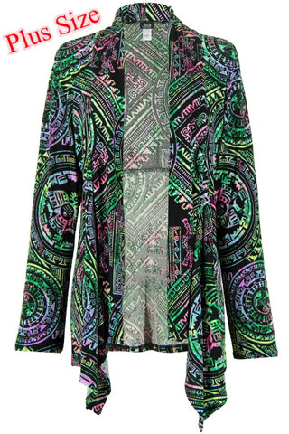 Jostar Stretchy Print  Mid Cut Jacket Long Sleeve, Print, Plus - 428BN-LXP-W014