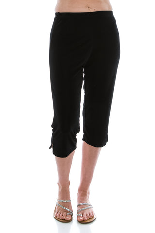 Stretchy Solid Capri Pants in Plus Size- 502BN-X