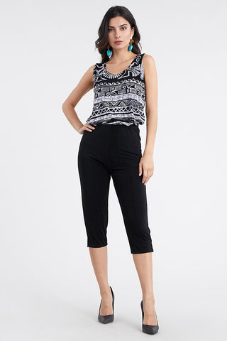 Stretchy Solid Capri Pants - 502BN