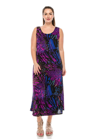 BNS Print Long Tank Dress, Plus size - 700BN-TXP-W207