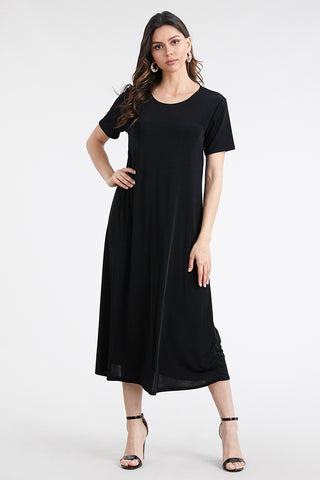 BNS Short Sleeve Solid Long Dress-702BN-S