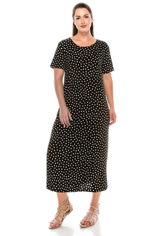 Jostar Stretchy Long Dress Short Sleeve, Plus, Plus - 702BN-SXP-W032