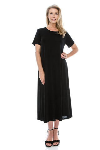 Jostar Stretchy Long Dress Short Sleeve, Plus size-702BN-SX