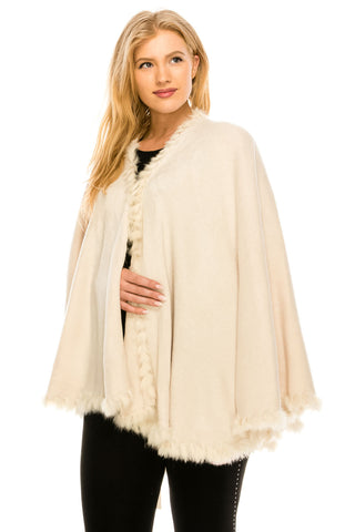 Jostar Acrylic Cape with Faux Fur Sleeveless - J007TN-GMG2-16
