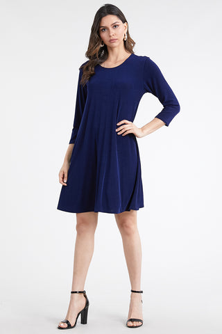 BNS Solid Quarter Sleeve Short Dress-704BN-Q
