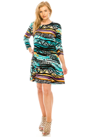 BNS Print Quarter Sleeve Short Dress-704BN-QP-W194