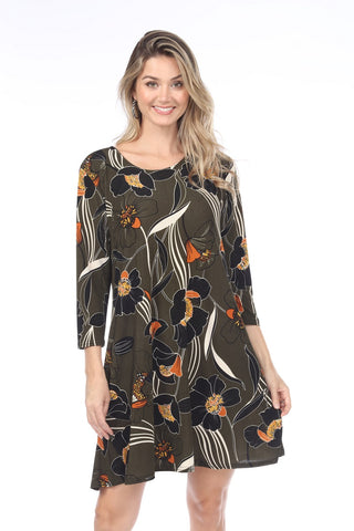 BNS Print Quarter Sleeve Short Dress-704BN-QP-W239
