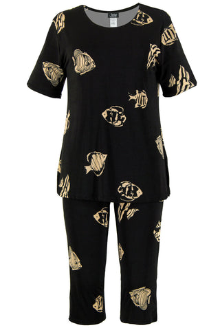 Jostar Stretchy Capri Pants Set Short Sleeve, Plus, Print - 903BN-SXP-W036