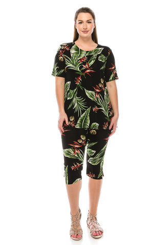 Jostar Stretchy Capri Pant Set Short Sleeve, Print - 903BN-SP-W100