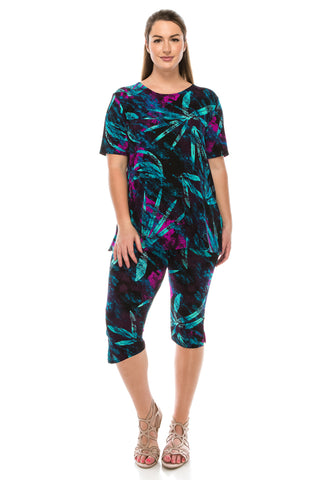 Jostar Stretchy Capri Pants Set Short Sleeve, Plus, Print - 903BN-SXP-W101